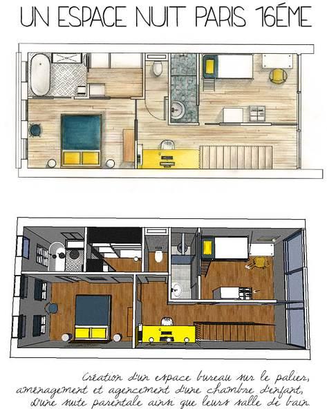 creation d'un espace bureau sur le palier, amenagement et agencement d'une chambre d'enfant, d'une suite parentale ainsi que de leur salle de bain