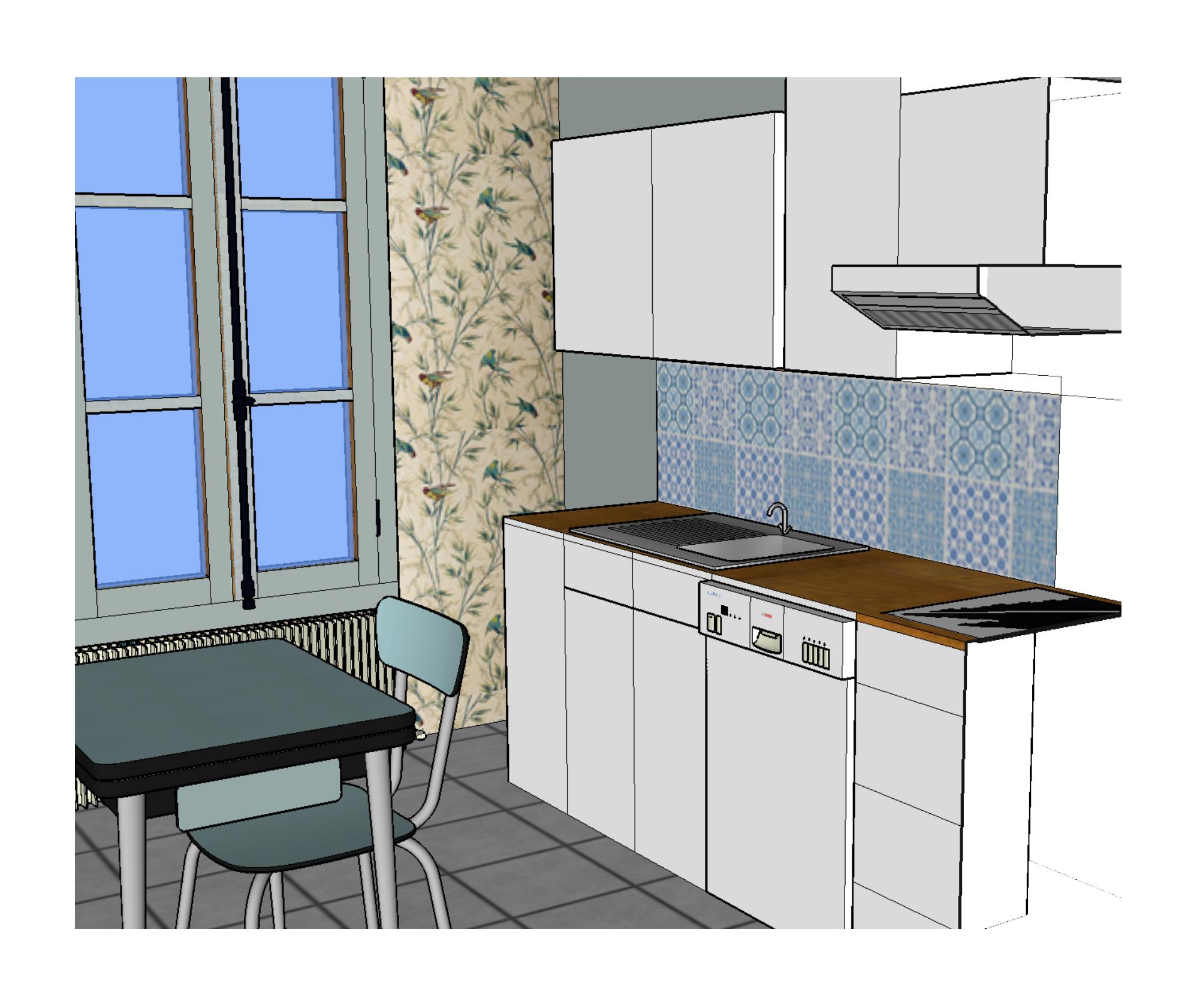 Claire clerc d coration int rieure cuisine paris 9 me for Simulation cuisine 3d en ligne